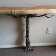 Metal and wood entry table