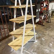 Metal and wood shelving
