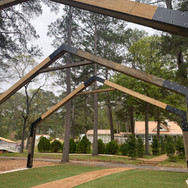 Metal and wood archways