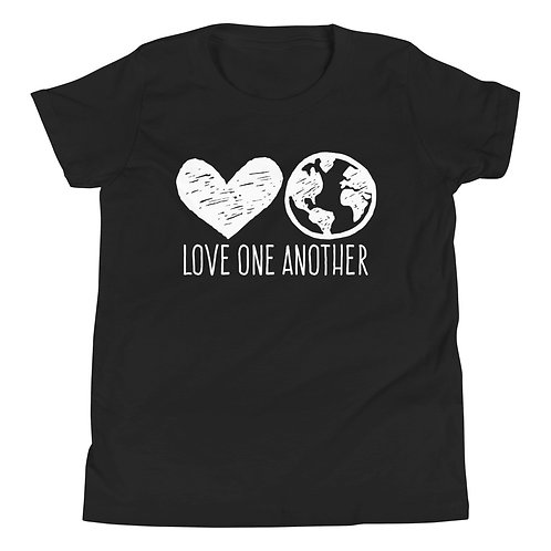 Love One Another T-shirt for Kids (heart, world)