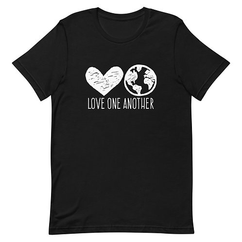 Love One Another Unisex T-shirt (heart, world)