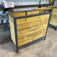 Metal and wood planters