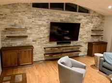 Walnut Slab Shelves and Media Cabinets