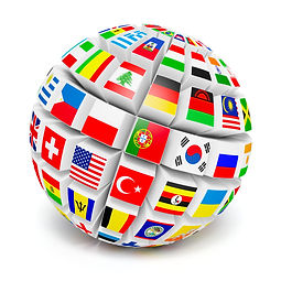 Travel and international business concept - 3d   globe sphere with  flags of the world on white back