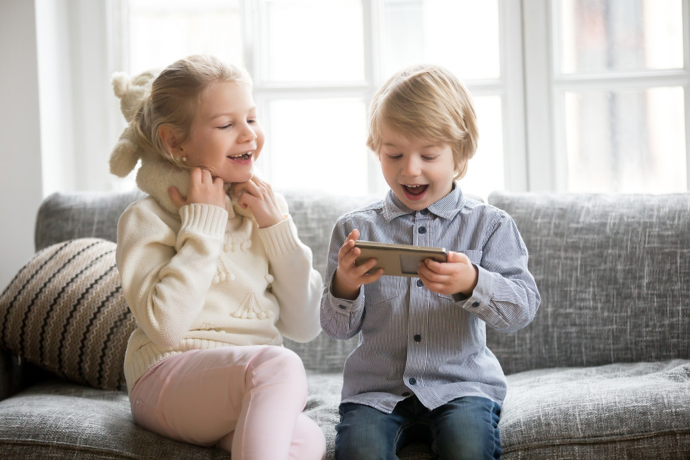 Kids playing games together