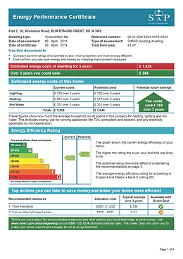 Example of an Energy Performance Certificate