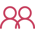 pink, simplified outline of 2 people slightly overlapping