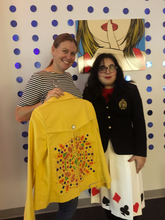 Devin with one of her jacket designs