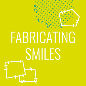 "yellow background with ""fabricating smiles"" text in white"