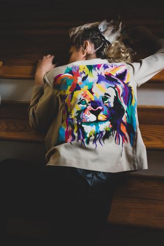 Model wearing Mariah's jacket design
