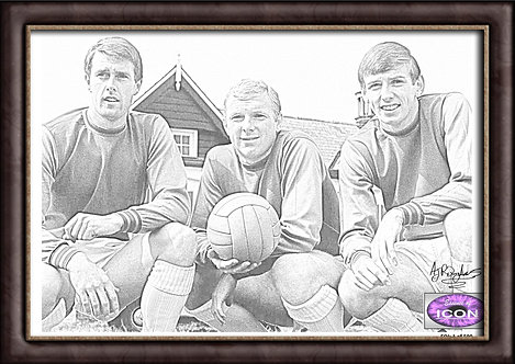 Geoff Hurst, Bobby Moore and Martin Peters (West Ham United)