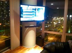 TV + Sound Bar on Column