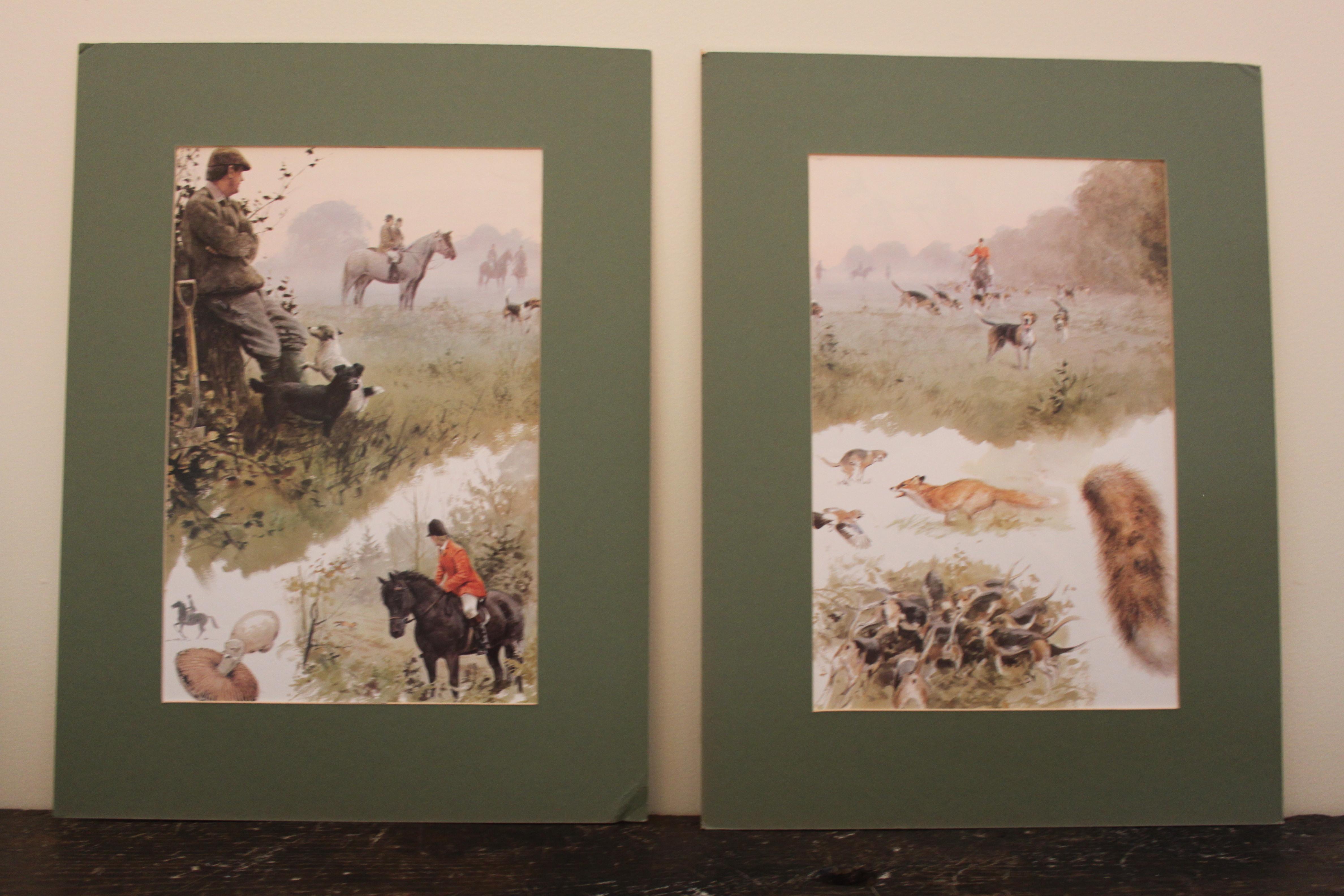 """gravure - """"scène de chasse anglaise"""""""