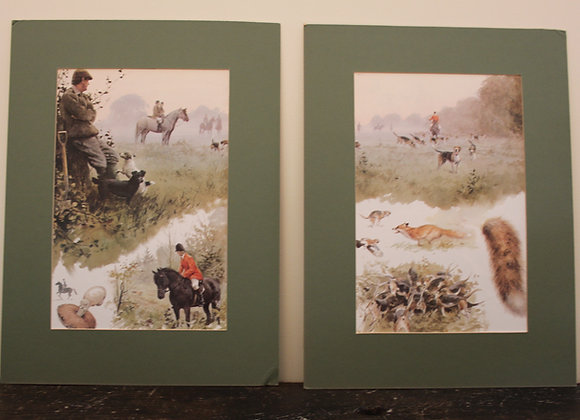 """""""Hunting day"""" paire de gravure anglaise"""