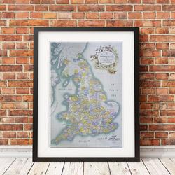 gravure carte fox-hounds Angleterre