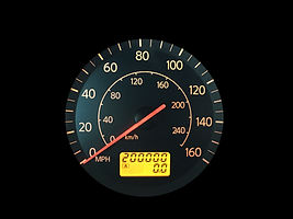 High Mileage Odometer Isolated on Black.