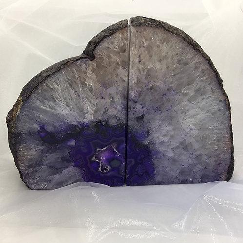Agate Bookends - Purple