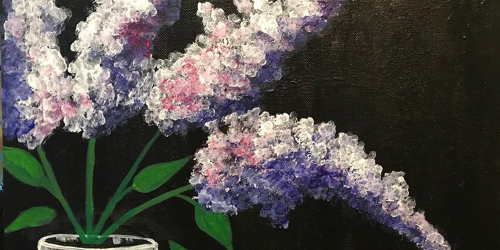 Lilacs in a Mason Jar - Acrylic Paint Class