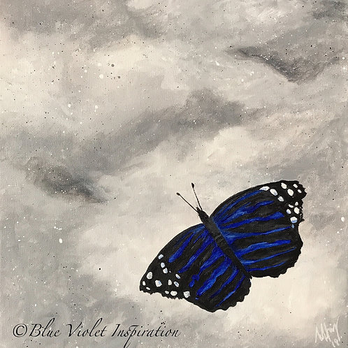 "Blue Butterfly on Rock 12"" x 12"""