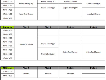 Start des Trainings ab Montag den 10.05.2021