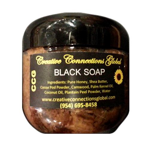 100% Natural African Black Soap in Jar
