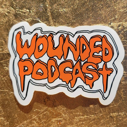 Wounded Podcast (White/Orange) Sticker