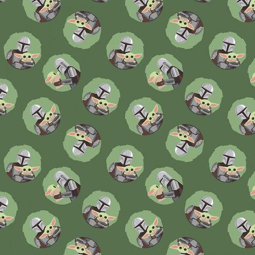 Green Star Wars Mandalorian & Baby Yoda Toss - Camelot Fabrics