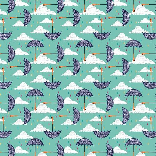 Blue Disney Mary Poppins Umbrellas - Camelot Fabrics