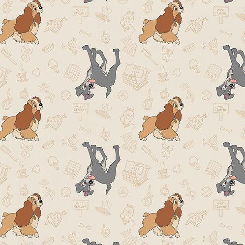 Disney Lady & the Tramp Home Sweet Home (Cream) - Camelot Fabrics