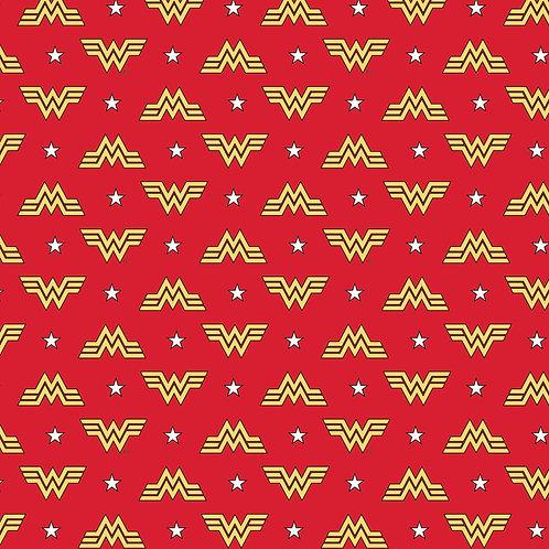 Red  Wonder Woman 1984 Logo & Stars- Camelot Fabric