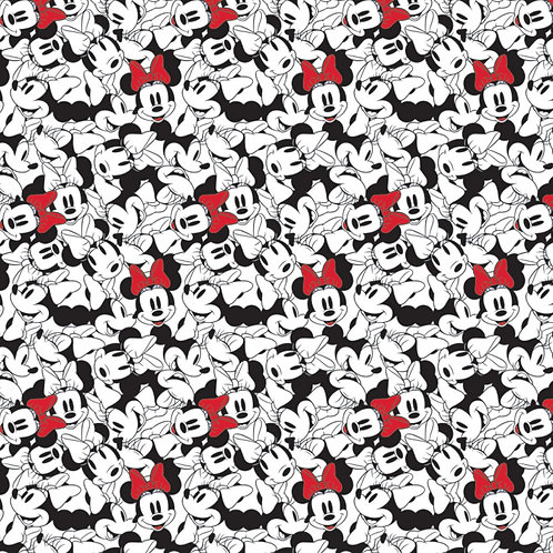 White Disney Minnie Mouse Tossed - Camelot Fabrics