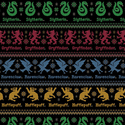 HP Black Christmas Sweater All Houses - Camelot Fabrics