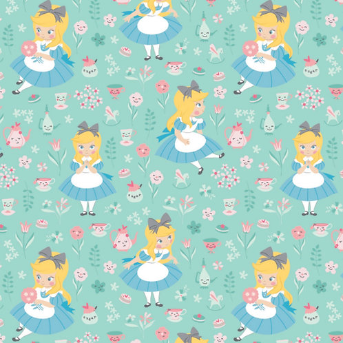 Turquoise Disney Alice in Wonderland In a World Of My Own - Camelot Fabrics