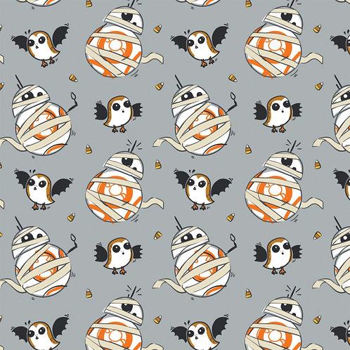 SW Grey Halloween Mummy BB8 - Camelot Fabrics