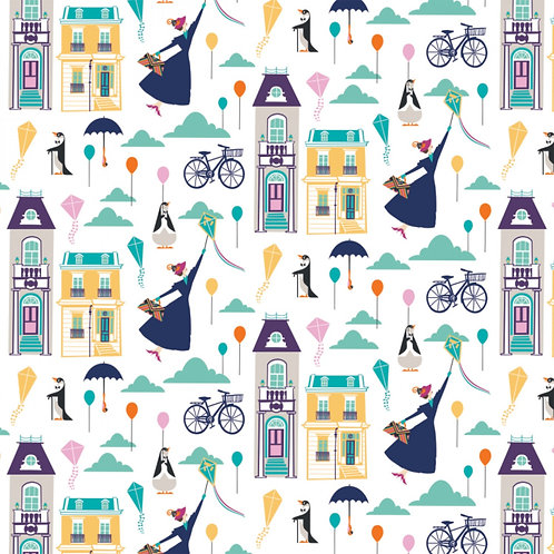 White Disney Mary Poppins Big Plans for Adventure - Camelot Fabrics