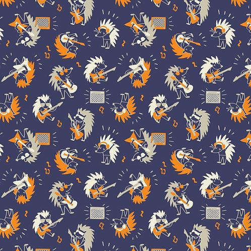 Navy Hedgehog Rock Star - Camelot Fabrics