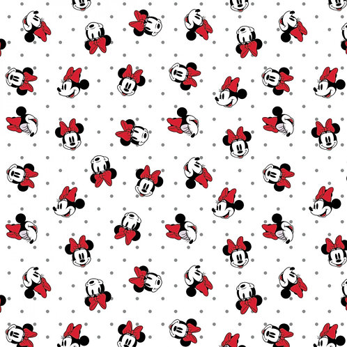 White Disney Minnie Mouse Dreaming in Dots - Camelot Fabrics