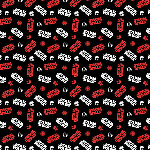 Black Star Wars Tossed Icons - Camelot Fabrics