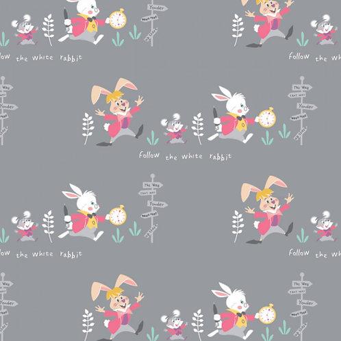 Grey Disney Alice in Wonderland Follow the White Rabbit - Camelot Fabrics