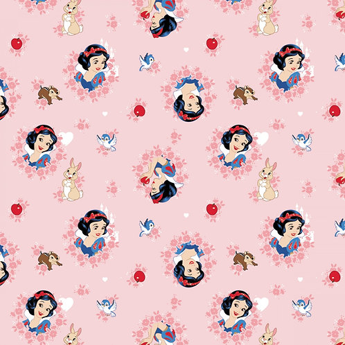 Coral Disney Snow White in Wreaths - Camelot Fabrics