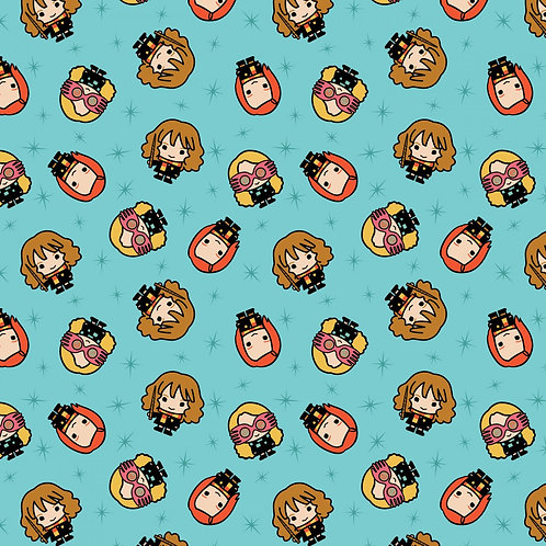 Aqua Harry Potter Kawaii Girl Toss - Camelot Fabrics