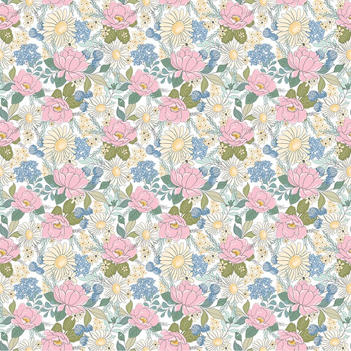 White Country Roads Floral - Poppie Cotton Collection