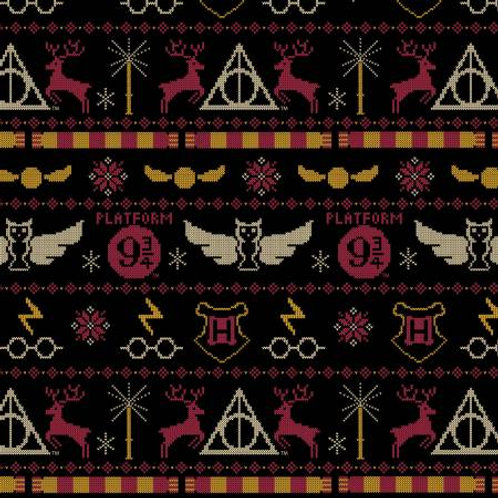 HP Black Christmas Sweater - Camelot Fabrics