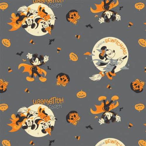 Mickey & Minnie Grey Bewitching Halloween - Camelot Fabrics