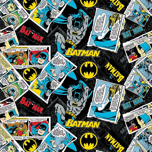 DC Batman Collage (Black) - Camelot Fabrics