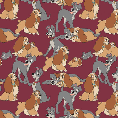 Disney Lady & the Tramp Perfect Fur Family (Burgundy) - Camelot Fabrics