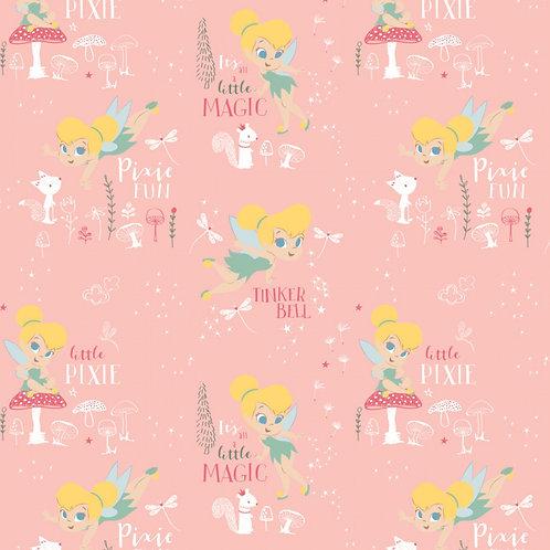 Disney Tinker Bell Pixie Magic (Light Pink) - Camelot Fabrics