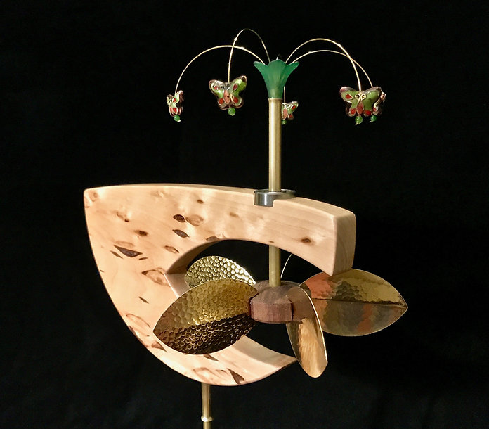 Wave whirligig custom handcrafted whirligig whirligigs whirligig whirlygigs contemporary American arts and crafts woodwork woodcraft