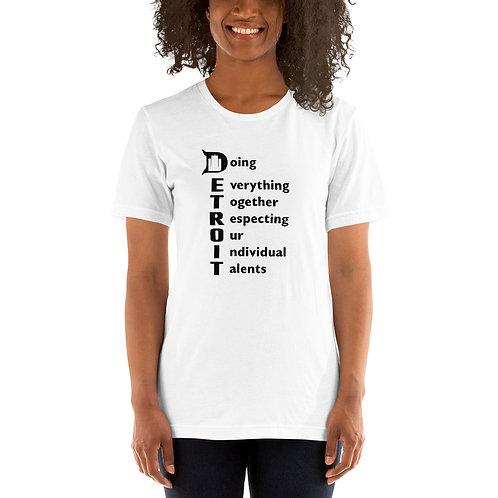 DETROIT Acronym White Unisex T-Shirt