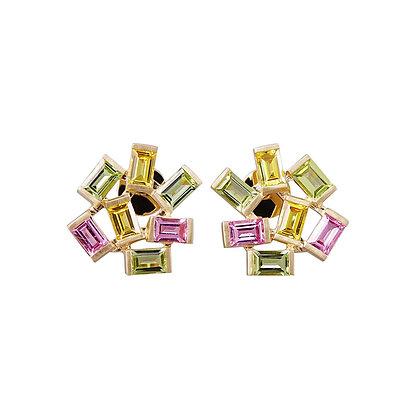 Large Jubilation Earrings- Peridot, Pink and Yellow Sapphire